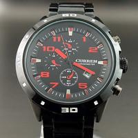 Free Shipping CURREN Men New 2013 Fashion Retro Black Full Steel Quartz Watch Waterproof Casual Sports Reloj Analog Wristwatch