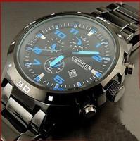 Free Shipping Curren Men Black Stainless Full Steel Quartz Watch Student Waterproof Calendar Analog Sport Military Wristwatch