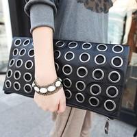 2015 New Fashion PU Leather Women's Handbag Clutch Bag Rivet Ring Ladies Evening Bag Chain Shoulder Bag