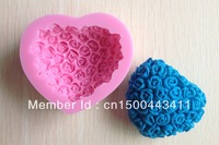 Free shipping 1PCS Silicone Cake Mold Bakeware Decorating Gum Paste Fondant Clay Soap Mold Rose Shaped C07