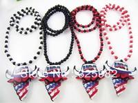 5Pcs/Lot USA National Flag CHICAGO BULLS Pendant Good Wood Hip-Hop Wooden Fashion Dancer Color Necklace