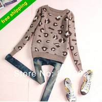 2013 New arrived fashion wool vintage leopard print o-neck pullover sweater for woman