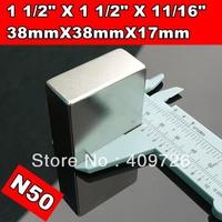 Free Shipping 4PCS/LOT, craft super strong rare earth Powerful N50 NdFeB magnet Neodymium permanent Magnets F38x38x17mm