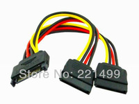 [FREE SHIPPING/EPACKET!] WHOLESALE 10pcs/lot SATA 15pin Hard Disk Power Male to 2 Female Splitter Y 1 to 2 extension Cable