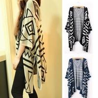 2014 New Novetly Geometric Printed Women Cardigans Coats/Brand Irregular Knitted Women Sweaters/Casual Women Clothing