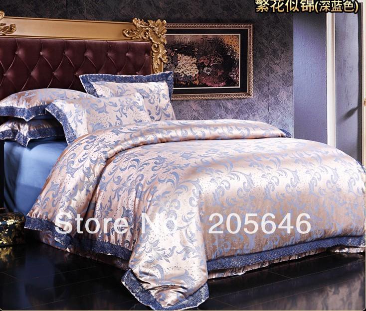100% algodão acetinado Tapete de flores 2 cores Noble conjunto de roupa de cama 4pcs / lençol / conjunto de capa de edredon / set comforer tampa / quilt(China (Mainland))