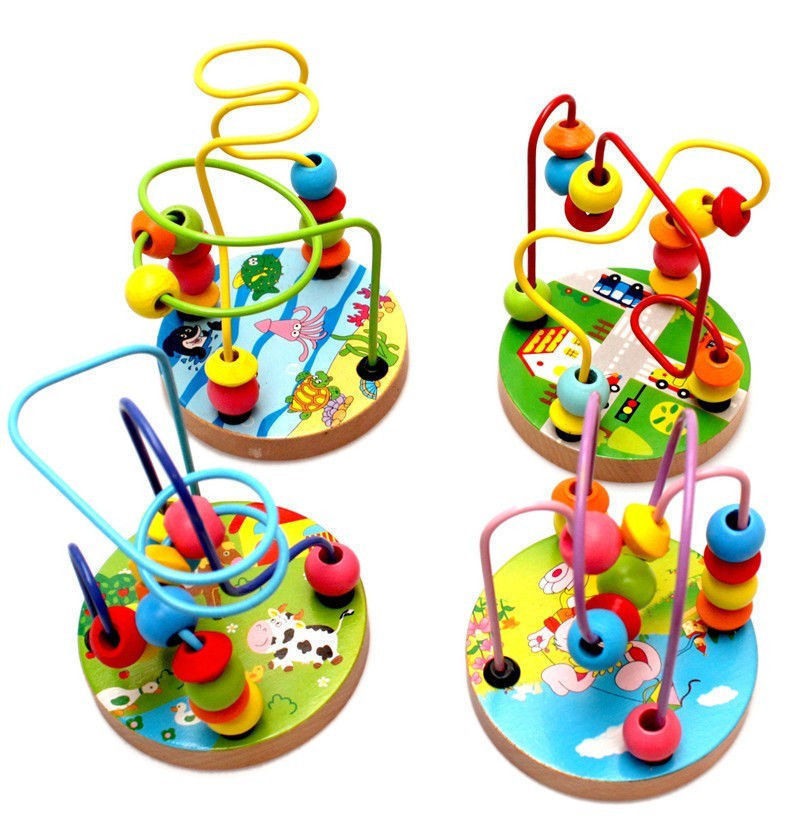 1PC NEW HOT Baby wooden toy Mini around beads Wire maze Colorful Educational game Children Toys Free