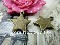 Free Delivery Vintage handmade diy material ancient bronze five-pointed star  3*17*19mm 40pcs/lot
