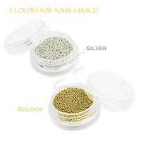 New 1mm Silver Metallic Caviar Beads Studs Nail Art Glitter Nail Decoration 13229