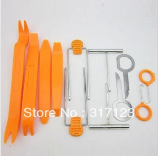 free shipping (100set/lot ) Wholesale 12pcs Car Radio Door Clip Panel Trim Dash Audio Removal Pry Tool Kit Plastic