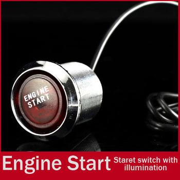 Universal 22mm Blue LED Illumination Car Keyless Engine Ignition Starter Push Start Button Switch Drilling Free Shipping