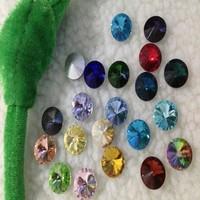 100PCS/LOT  12MM Rivoli Crystal Beads Chinese Top Quality Round Fancy Stone Crystal Rivoli Beads Mix color