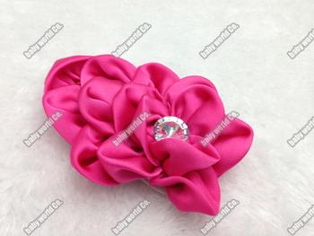 "Hair accessory 50pcs 4"" Hi Quality Layers Crystal Chiffon Satin Flower For Baby Headband Girls Hat Hair DIY flat back"