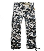 Men's desert Camo Cargo Multi-pocket pants Mens cotton casual Slim trousers Men military Camouflage trousers pants overalls