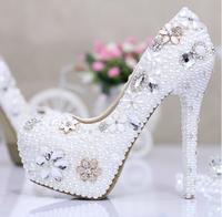 New 2014 bridal wedding shoes women pumps high heels crystal rhinestone genuine leather shoes sapatos femininos zapatos mujer