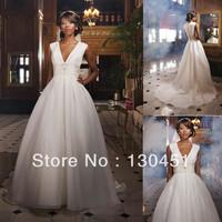 ivory organza a-line trains beaded sashes floor length sexy deep v neck wedding dress for bride
