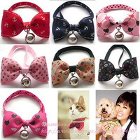 With a good quality pet supplies , awesome meow pet collar dog bell bow tie
