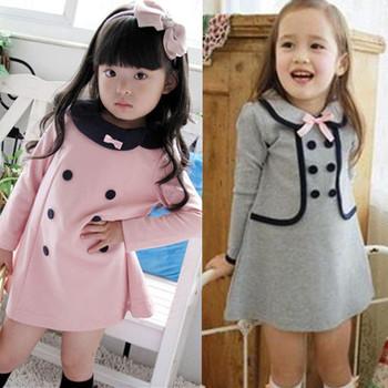 2013 Korea fashion baby girls dress cute pink color 3 - 8 years children's princess dress on sale kid's dress   free shipping