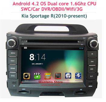 Pure Android 4.2 Car DVD Player Car Radio for Kia Sportage/Sportage R(2010-present) dvd automotivo Wifi Car DVR OBD2 1.6Ghz CPU