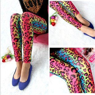 New type of leopard print women's leggings, high elastic milk silk tights, color leopard graffiti leggings