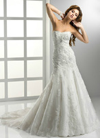 2013 Classical Mermaid/Trumpet Applique Sweep/Brush Bridal Gown