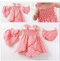 children's dot skirt + briefs + hat tutu baby girl's dress skirt suit kids wear kids clothing free shipping