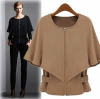Free shipping Womens Chic Zipper tops wraps Cape short Coat Jackets S~XL 2 colors