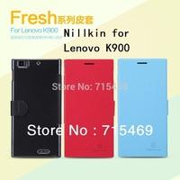 Free shipping 5pcs original Nillkin Flip leather case Fresh series for Lenovo K900 +retail box