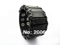 New 2014 Designer Jewelry Handmade Men Women Leather Cuff Vintage Black Punk Leather Wristband Bracelets and Bangles