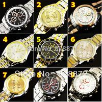 Free Shipping ! 2014 Hot Sell 1pcs New Luxury clock Style Men's Watch Metal Men Quartz Steel belt Wrist Watch sports Watches, M1
