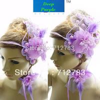 Free Shipping Bridal hairpin accessories purple Latin dance neck flower set fashion jewelry set