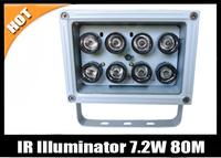 Free shipping 8pcs Array LED 7.2W 40-80meter Night Vision IR Infrared Illuminator For CCTV