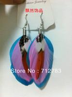 Free Shipping Full ! bohemia fashion feather earrings large