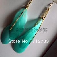 Free Shipping Yaju sparkling rhinestone fashion feather earrings 23