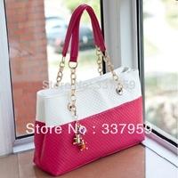 2014 Brand shoulder bag with Pockets sweet color block women's handbag Leather fashion handbag women bag chain bag Four Color
