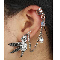 #174 New Arrive Fashion Delicated Rhinestone Bird Ear Cuff Earring, Bird Stud Earring Charms, Free Shipping 20PCS/LOT