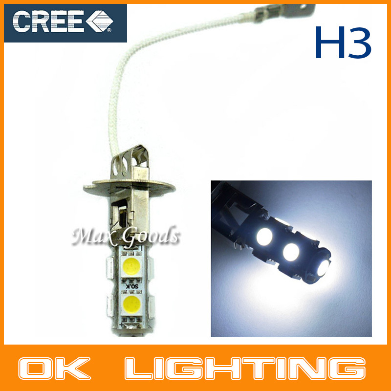 2PCS 9smd H3 LED Xenon White Auto Fog Head Driving Corner/Stop/Parking Light Lamp For Car(China (Mainland))