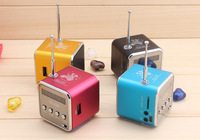 2013 PROMOTION STRONG BASS PORTABLE MINI CUBE SPEAKER TF Micro SD FM RADIO MP3 LCD SCREEN PROMATIONAL GIFT 20PCS/LOT.