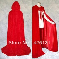 Halloween costumes Lined Red Red Velvet Cloak Cape Wedding Wicca Gothic Party Cloak Free shipping