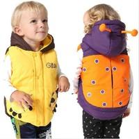 promtion! 2014 hot sales boys girls wadded jacket cartoon ladyhug/honeybee thickening Waistcoat children outerwear