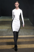 High Quality Autumn Celebrity Victoria Beckham Dresses Long Sleeve O-Neck Patchwork Blue White Dresses S M L XL