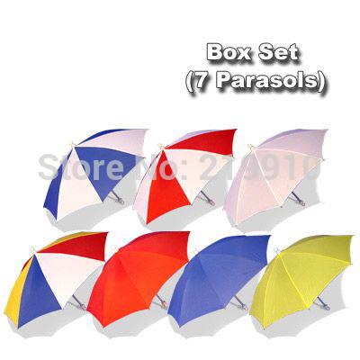 Free Shipping Parasol Box Set (7 Parasols) --Magic Trick, Fun Magic, Party Magic.(China (Mainland))