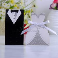 Free Shipping 100pcs Classic Tuxedo And Gown Favor Box With White Ribbon /Wedding Favor Box/Candy Box