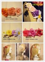 Fashion Korean style hand made chiffon fabric flower boutique hair bows with clips hair accessories for women hair clip