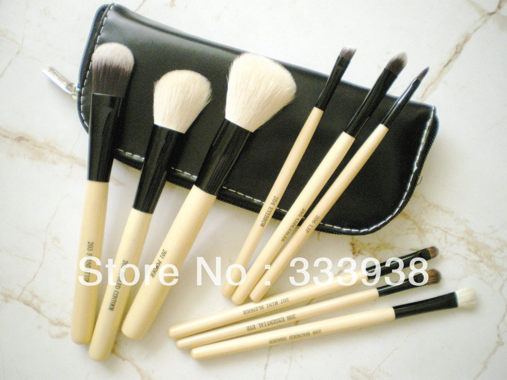 Free Shipping 9pcs Quality BRUSHES FOR MAKEUP for DELUXE WET & DRY MAKEUP ANIMAL HAIR BRUSH Zip PURSE BAG Portable TRAVEL KIT(China (Mainland))
