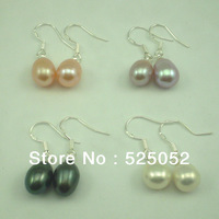 Min.order is $10(mix order) Free shipping! Silver Tone 8mm Natural Pearl Eardrops Waterdrop Shape Pearl Earrings