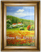 Impression flowers field oil painting cicada handmade oil painting, oil painting portraits and small batch to support custom