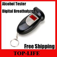 Free Shipping Key Chain Backlight Digital Breathalyzer Alcohol Breath Analyze Tester With 4 Attachment 50pcs/lot