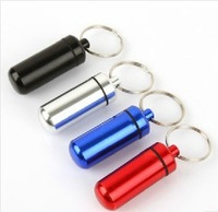 Retail--Waterproof Wear-resisting Aluminium Keychain Pill Box Travel Metal Holder Case Container Silver Dropshipping