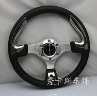 Free shipping 13 inch momo modified PU imitation racing car steering wheel plating, red